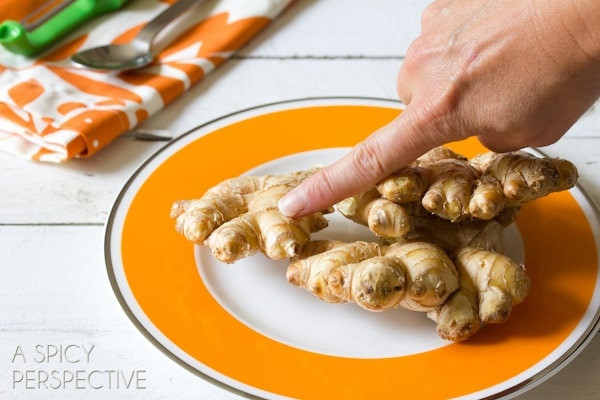 How to Peel Ginger Root (and when to peel it) ASpicyPerspective.com #howto #ginger #cooking