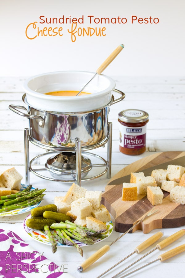 Pesto Cheese Fondue Recipe | ASpicyPerspective.com #fondue #cheese #pesto #delallo