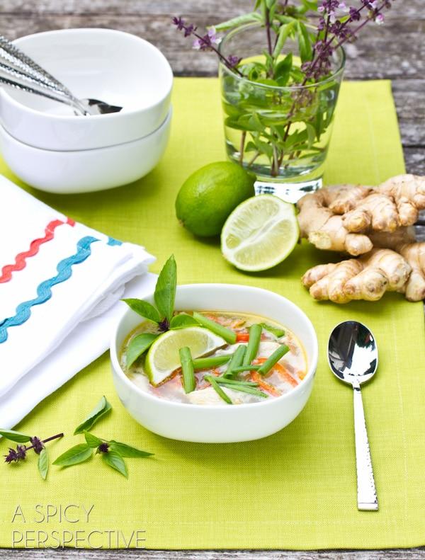Spicy Thai Chicken Soup Recipe   ASpicyPerspective.com #soup #recipe #healthy #paleo #lowcarb