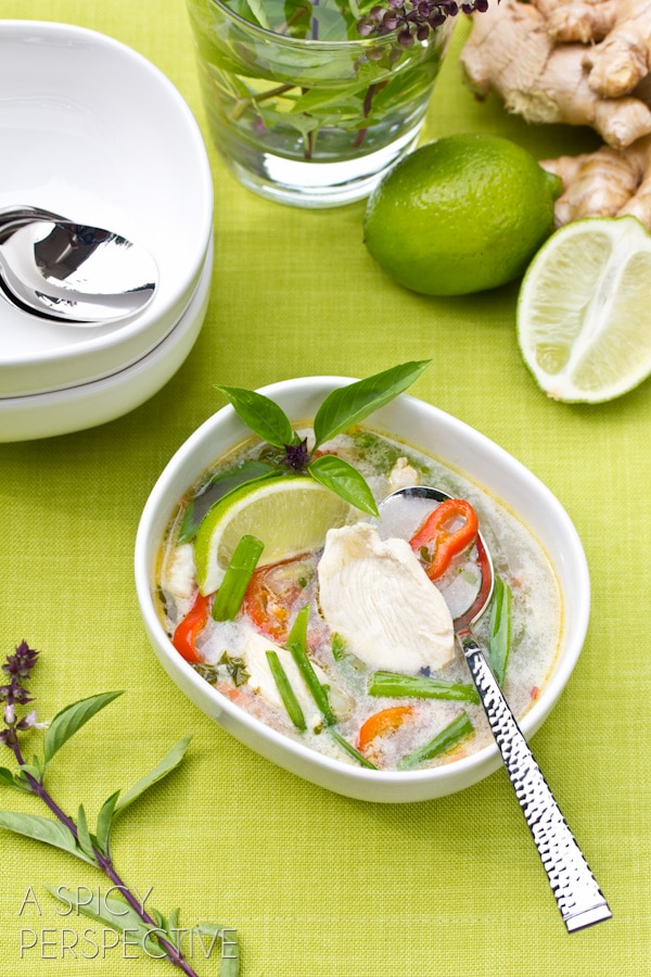 Thai Chicken Soup Recipe | ASpicyPerspective.com #soup #recipe #healthy #paleo #lowcarb
