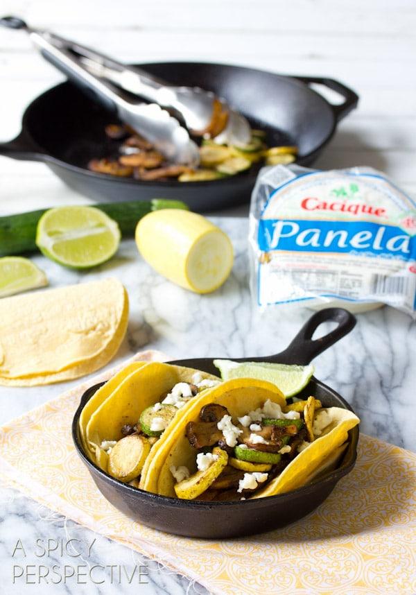 Vegetarian Taco Recipe with Summer Squash and Mushrooms   ASpicyPerspective.com #vegetarian #tacos #gardening #fresh