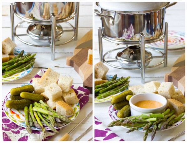 Pesto & Fontina Cheese Fondue | ASpicyPerspective.com #fondue #cheese #delallo #pesto
