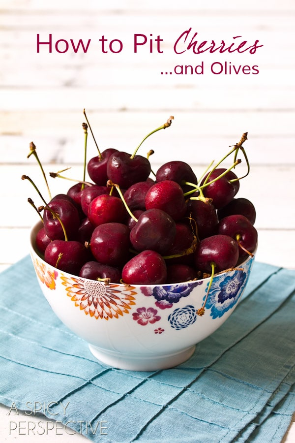 How to Pit Cherries (And Olives) ASpicyPerspective.com #howto #kitchentools #oxo #cherries