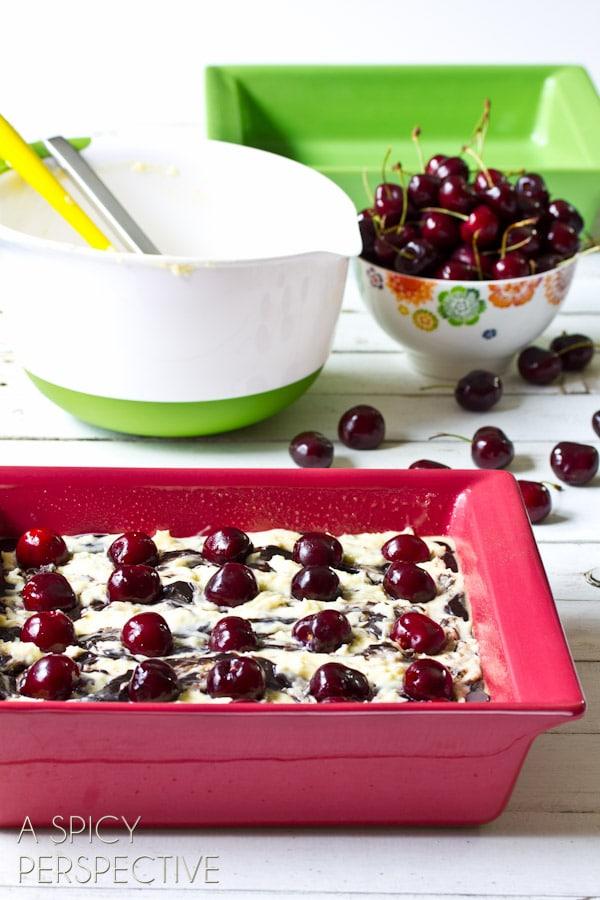 Homemade Brownie with Fresh Cherries