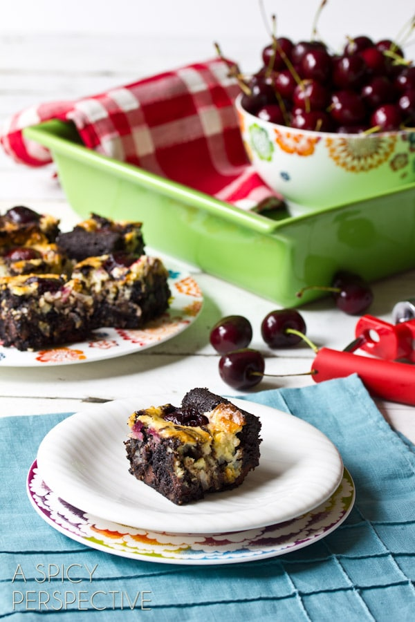 Chewy Brownie Recipe with Chocolate Cherries & Coconut Swirls! | ASpicyPerspective.com #brownies #fall #chocolate