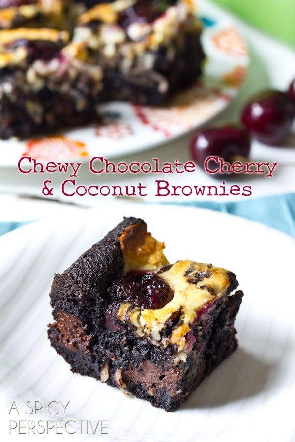 Easy Brownie Recipe with Chocolate Cherries & Coconut Swirls! | ASpicyPerspective.com #brownies #fall #chocolate