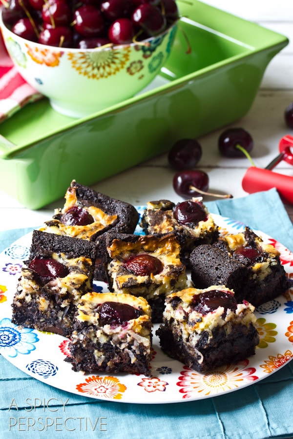 Amazing Brownie Recipe with Chocolate Cherries & Coconut Swirls! | ASpicyPerspective.com #brownies #fall #chocolate