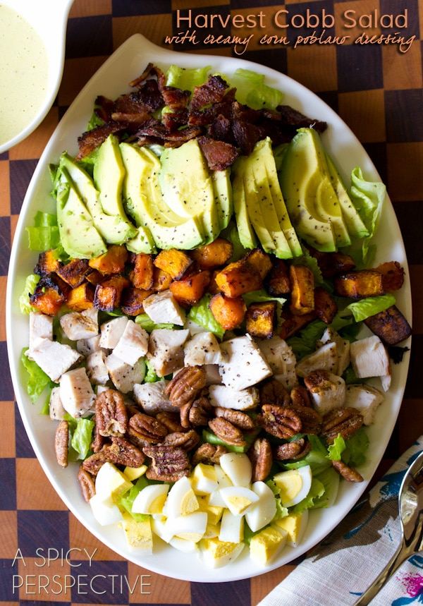 Harvest Cobb Salad with Creamy Corn & Poblano Dressing | ASpicyPerspective.com #salad #dinner #kitchenaid