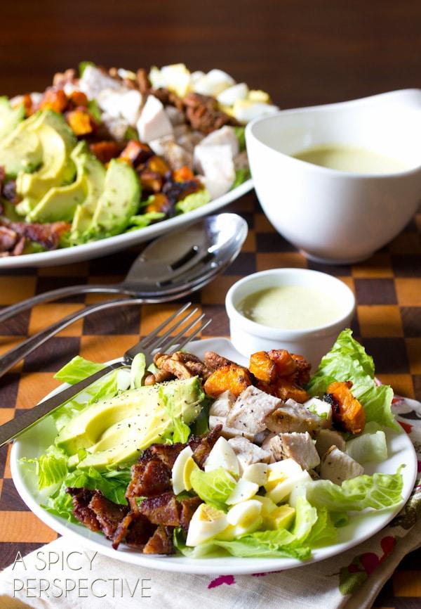 Harvest Cobb Salad with Creamy Corn & Poblano Dressing | ASpicyPerspective.com #salad #dinner #kitchenaid