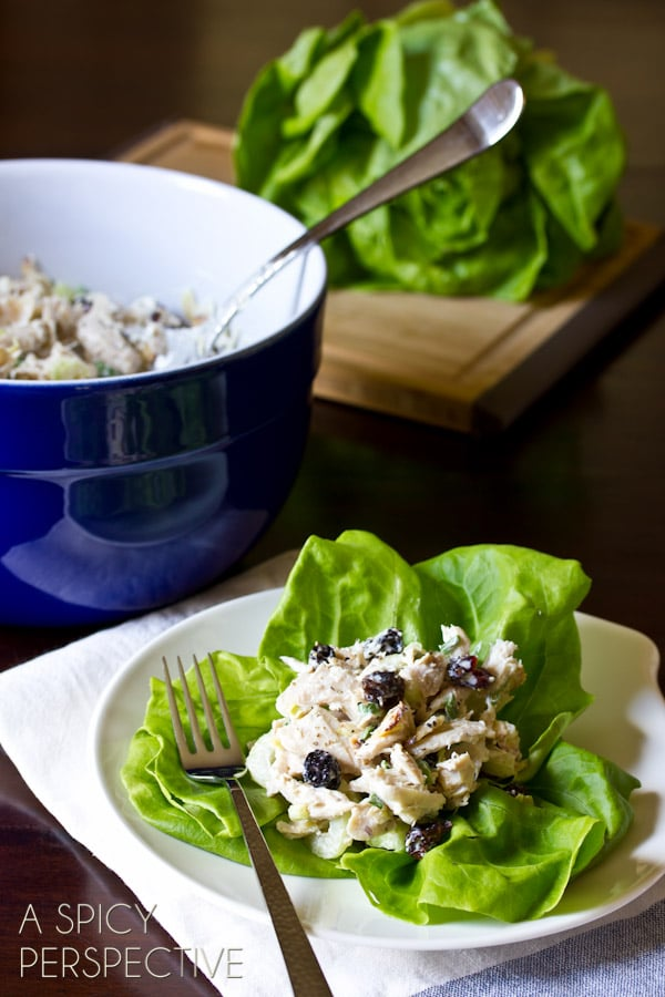 Classic Chicken Salad Recipe with a Twist! (Cherries, Berries, Almonds, Oh My!) ASpicyPerspective.com #chickensalad #chicken #backtoschool #naturebox
