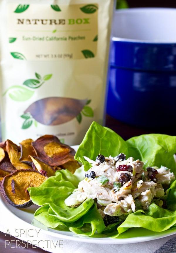 Simple Chicken Salad Recipe with a Twist! (Cherries, Berries, Almonds, Oh My!) ASpicyPerspective.com #chickensalad #chicken #backtoschool #naturebox