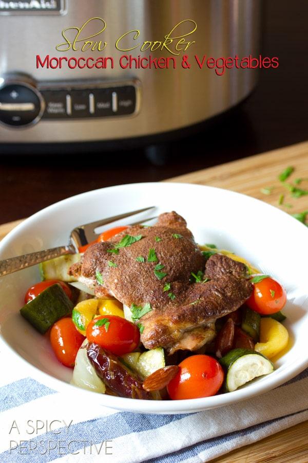 Slow Cooker Moroccan Chicken #Recipe | ASpicyPerspective.com #slowcooker #crockpot
