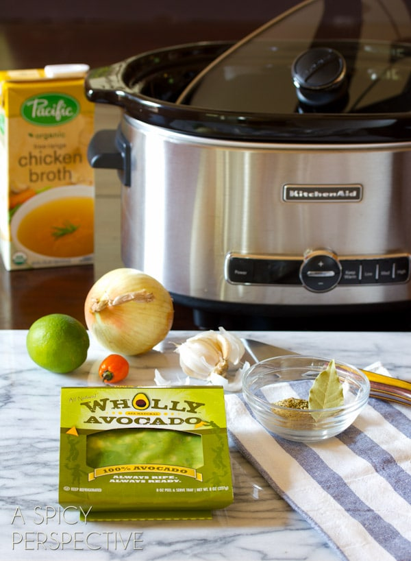 Slow Cooker Guacamole Soup Recipe   ASpicyPerspective.com #soup #fall #gameday #avocado