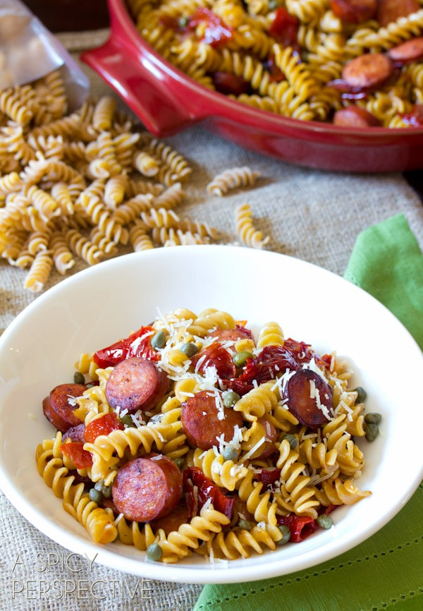 Sausage and Peppers Pasta | ASpicyPerspective.com #pasta #sausage #weeknightdinner #familyfavorite