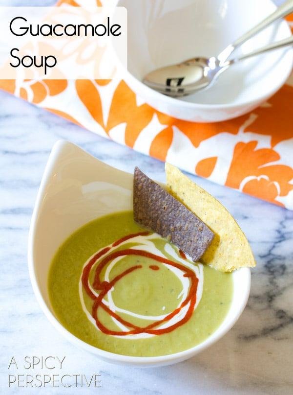 Healthy Guacamole Soup Recipe | ASpicyPerspective.com #soup #fall #gameday #slowcooker #avocado