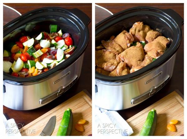 Making Slow Cooker Moroccan Chicken #Recipe | ASpicyPerspective.com #slowcooker #crockpot