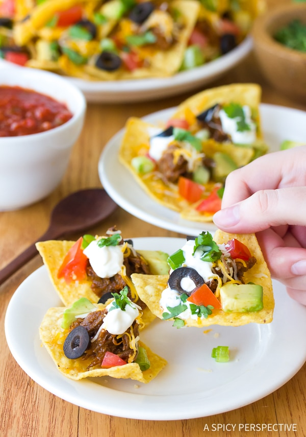The Best Beef Nachos with Slow Cooker Chili Con Carne Recipe