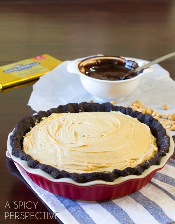 Amazing Chocolate Peanut Butter Pie | ASpicyPerspective.com #chocolate #peanutbutter #pie #fall #holidays