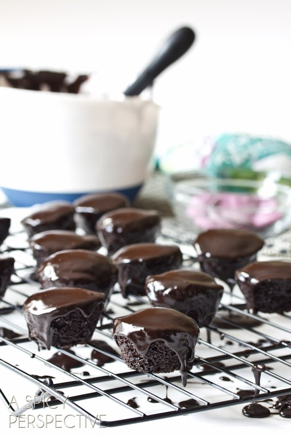 Mini Chocolate Cake Recipe   ASpicyPerspective.com #halloween #holidays #chocolate #recipe