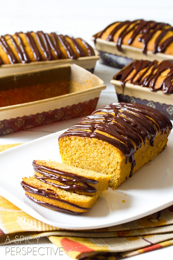 Heavenly Pumpkin Pound Cake with Chocolate Ganache | ASpicyPerspective.com #pumpkin #fall #poundcake #chocolate #ediblegifts