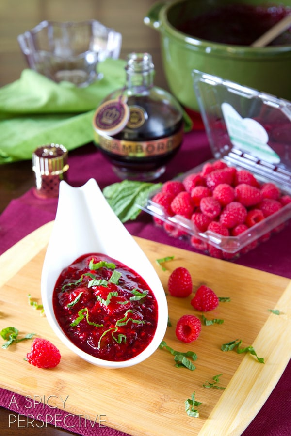 Raspberry & Cranberry Sauce for #Thanksgiving also makes a marvelous spread to serve with bread and cheese! #holidays #cranberry #raspberry #recipe