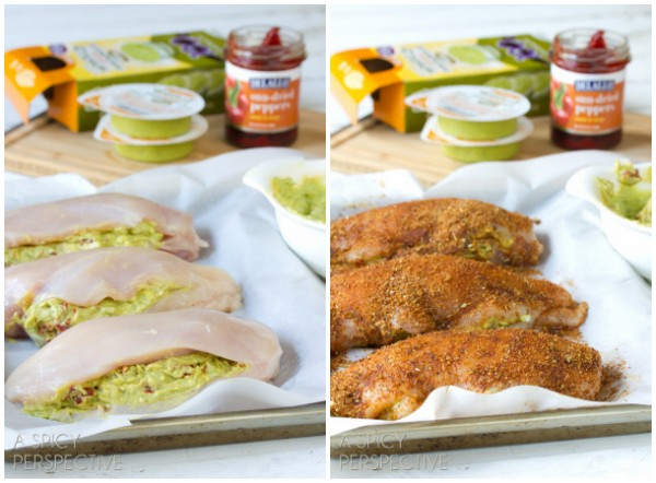 How to Make Guacamole and Cheese Stuffed Chicken | ASpicyPerspective.com #dinner #chicken #guacamole #miniguac