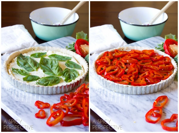 Making - Goat Cheese Red Pepper Tart #holidays #christmas #Thanksgiving #tart