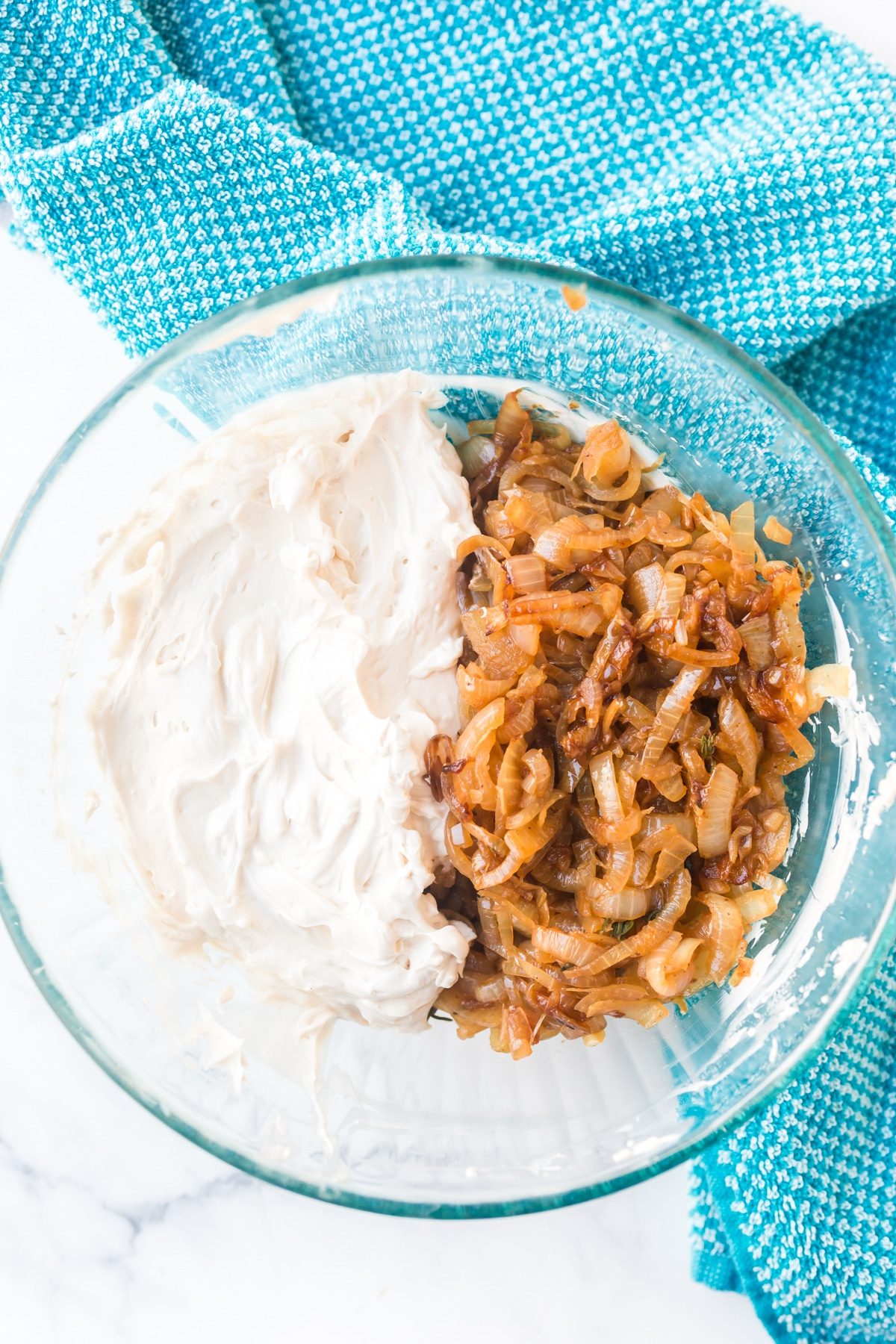 Hot Caramelized Onion Dip with Fried Onions Recipe #ASpicyPerspective #dip #hotdip