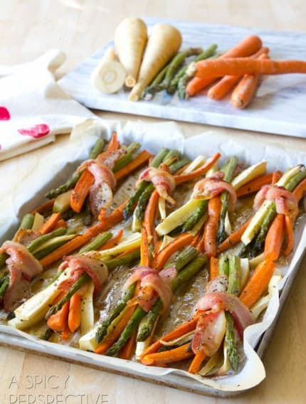 How to make Bacon Wrapped Roasted Vegetables with Cider Maple Glaze #thanksgiving #holidays #dinnerparty #bacon