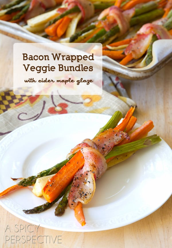 Bacon Wrapped Roasted Vegetables with Cider Maple Glaze #thanksgiving #holidays #dinnerparty #bacon