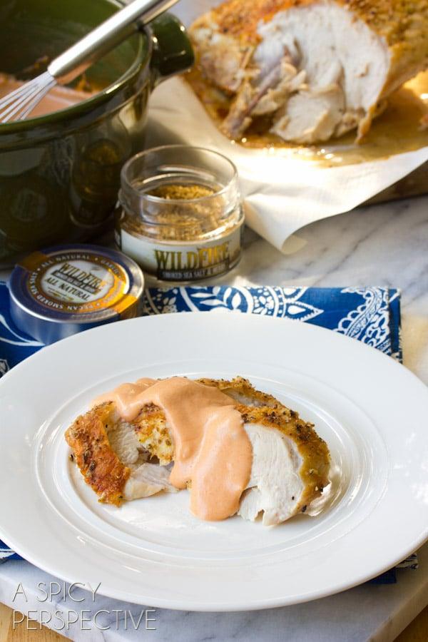Turkey Breast Recipe with Creamy Tomato Gravy #thanksgiving #holidays #turkey #gravy