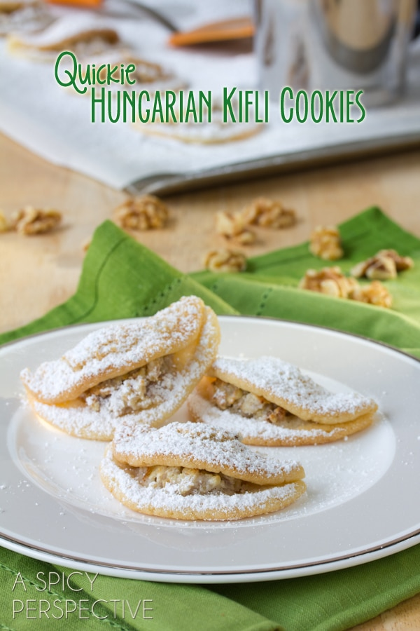 Quickie Kifli Cookies - Reminiscent of Classic Hungarian Kiflis! #holiday #cookies #thanksgiving #christmas