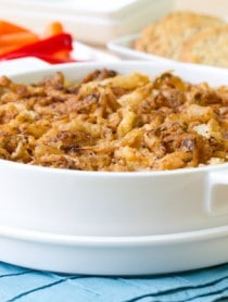 Easy Hot Onion Dip with French Fried Onions #holidays #appetizer #oniondip #party