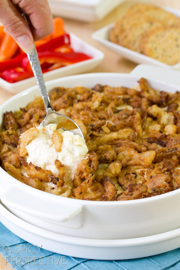 Cheesy Onion Dip with French Fried Onions #holidays #appetizer #oniondip #party