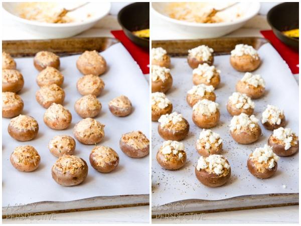 Easy Chorizo and Cheese Stuffed Mushroom Recipe #holidays #appetizers #mushrooms #party