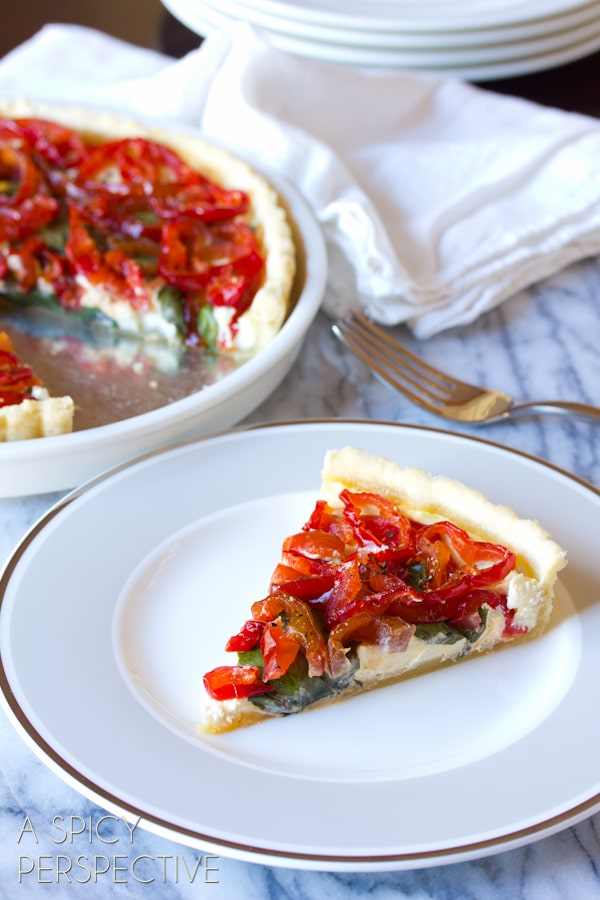 Simple Goat Cheese Red Pepper Tart #holidays #christmas #Thanksgiving #tart