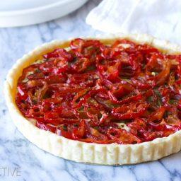 Goat Cheese Red Pepper Tart #holidays #christmas #Thanksgiving #tart