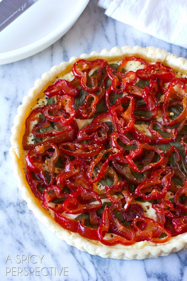 Goat Cheese & Candied Red Pepper Tart #holidays #christmas #Thanksgiving #tart