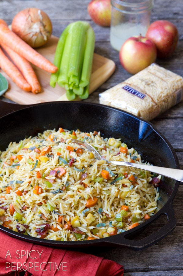 Easy Orzo Stuffing Recipe - Just the thing to add a little oomph to #Thanksgiving! #stuffing #pasta #recipe