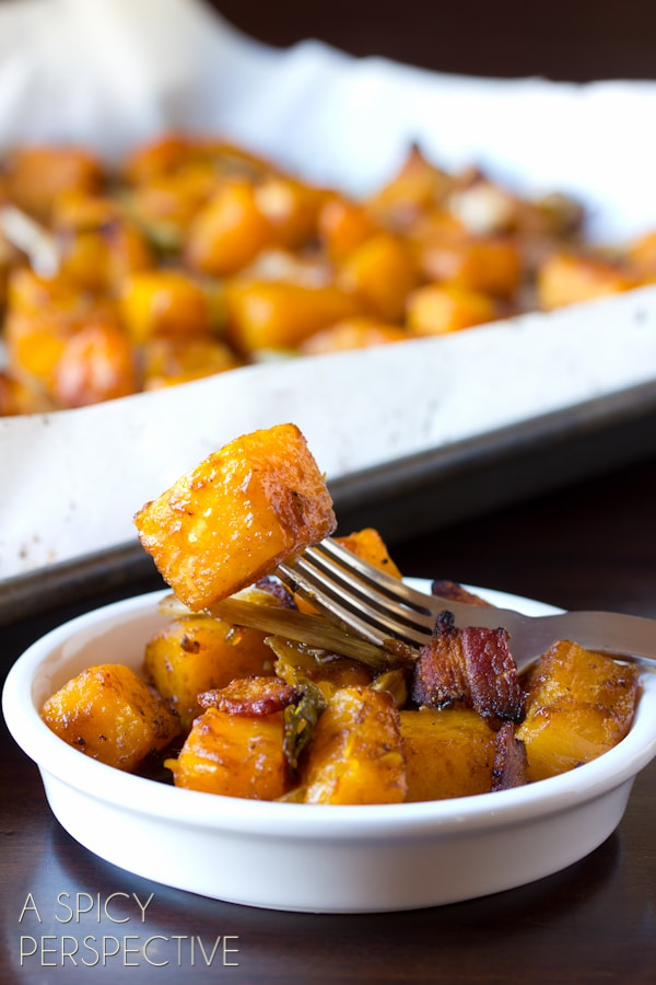 The Absolute Best Roasted Butternut Squash with Leeks, Bacon and Apple Glaze --SO GOOD! #thanksgiving #holidays #recipe #butternutsquash