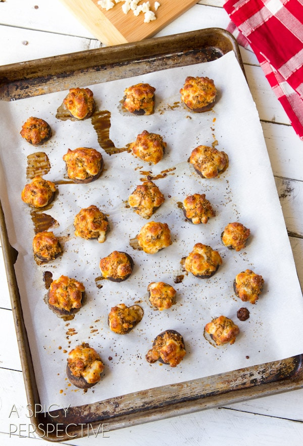 Chorizo Stuffed Mushroom Recipe #holidays #appetizers #mushrooms #party