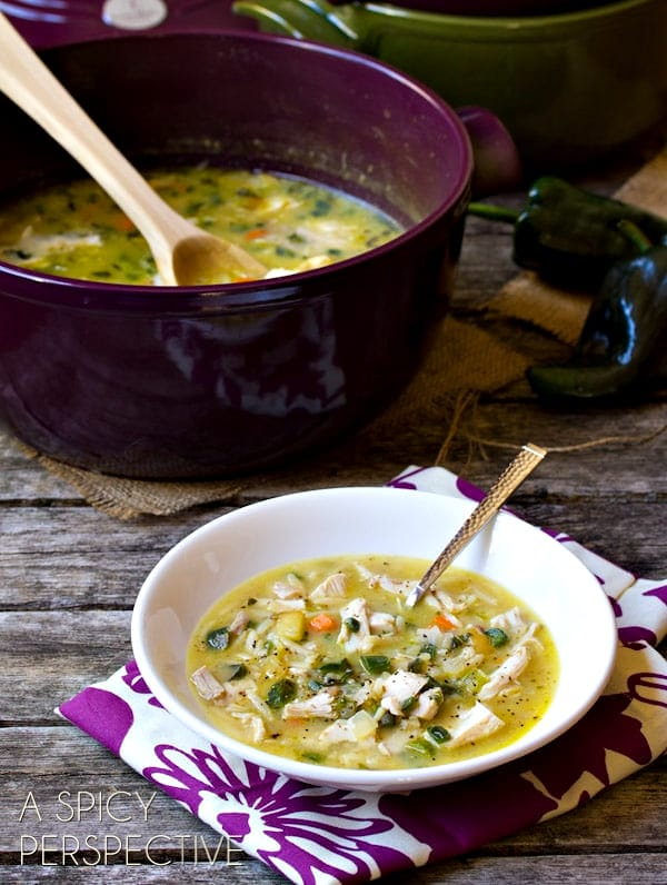 Leftovers Turkey Soup with Poblano Peppers #leftovers #soup #turkey