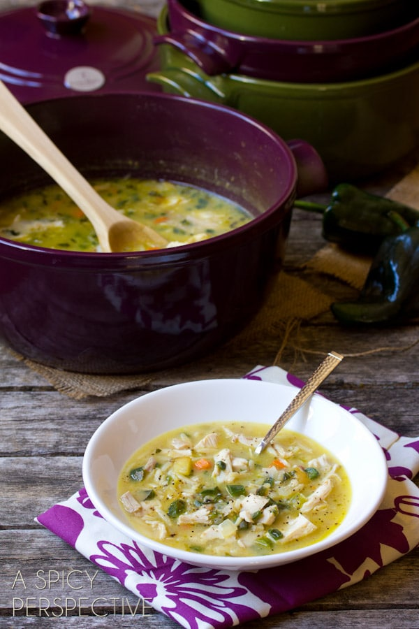 Easy Creamy Turkey Soup with Poblano Peppers #leftovers #soup #turkey