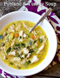 Creamy Turkey Soup Recipe with Poblano Peppers #leftovers #soup #turkey #thanksgiving