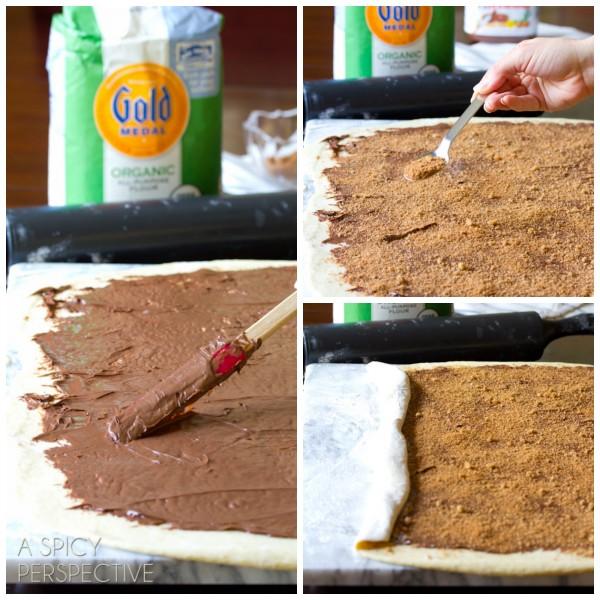 Making Chocolate Cinnamon Bread Wreath #christmas #holidayrecipe #bread #nutella