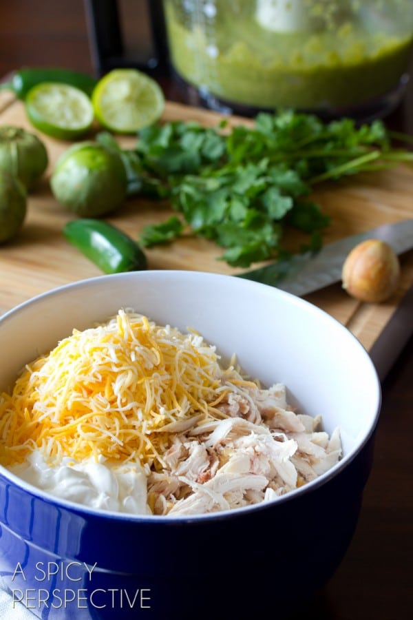 Making Chicken Enchilada Recipe with Salsa Verde and Cheese #mexican #recipe #casserole