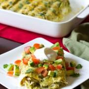 Enchilada Recipe with Salsa Verde, Chicken and Cheese #mexican #recipe #casserole