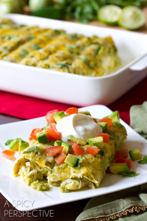 Best Chicken Enchilada Recipe with Salsa Verde and Cheese #mexican #recipe #casserole