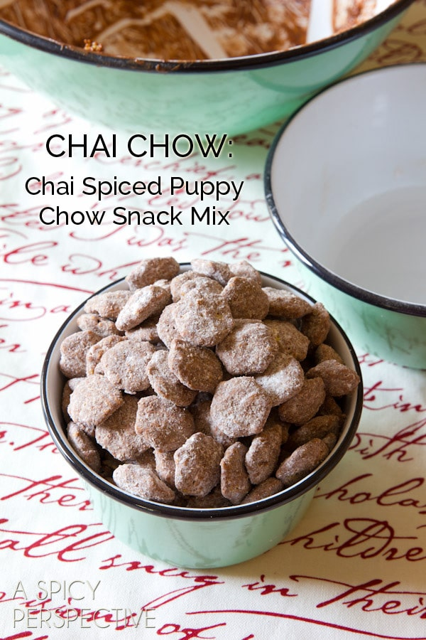 Chai Puppy Chow #Recipe - Makes a great edible gift! #ediblegift #christmas #holiday