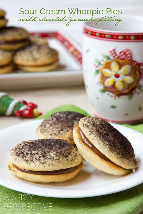 Sour Cream Cookies (Soft like Whoopie Pies) with Chocolate Ganache Filling! #holiday #christmas #cookies #cookieexchange #whoopiepie